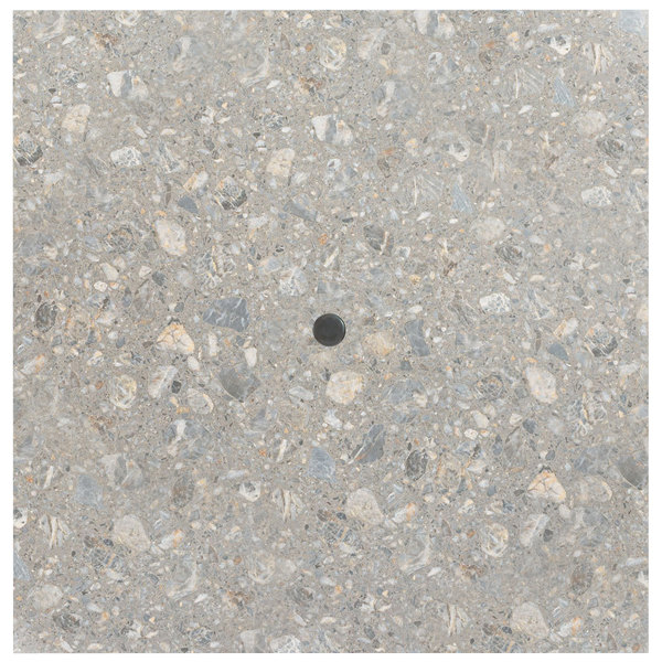 """Grosfillex UT245781 36"""" x 36"""" Tokyo Stone Square Molded Melamine Outdoor Table Top with Umbrella Hole Main Image 1"""
