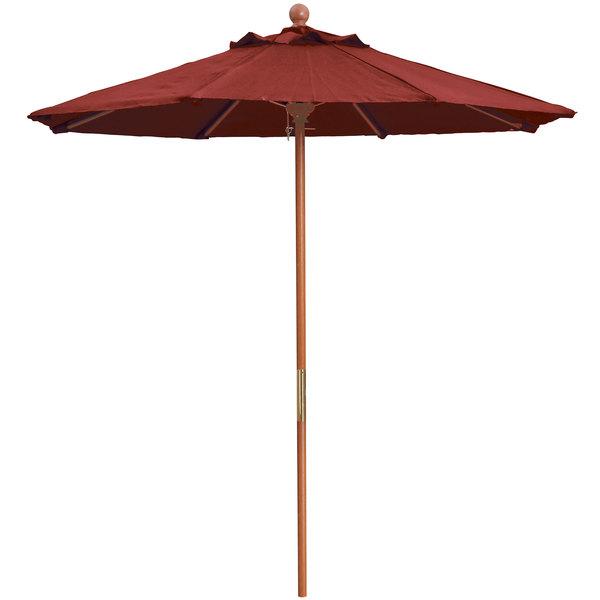 "Grosfillex 98948231 7' Terra Cotta Market Umbrella with 1 1/2"" Wooden Pole Main Image 1"