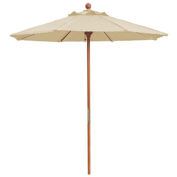 Grosfillex 98940331 7 Khaki Market Umbrella With 1 1 2 Wooden Pole