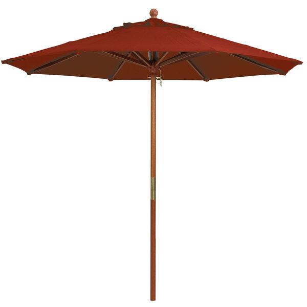 """Grosfillex 98918231 9' Terra Cotta Market Umbrella with 1 1/2"""" Wooden Pole"""
