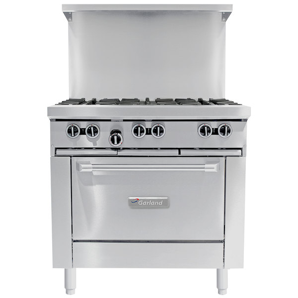 Garland G36 6c Natural Gas 6 Burner 36 Range With Convection Oven 236 000 Btu