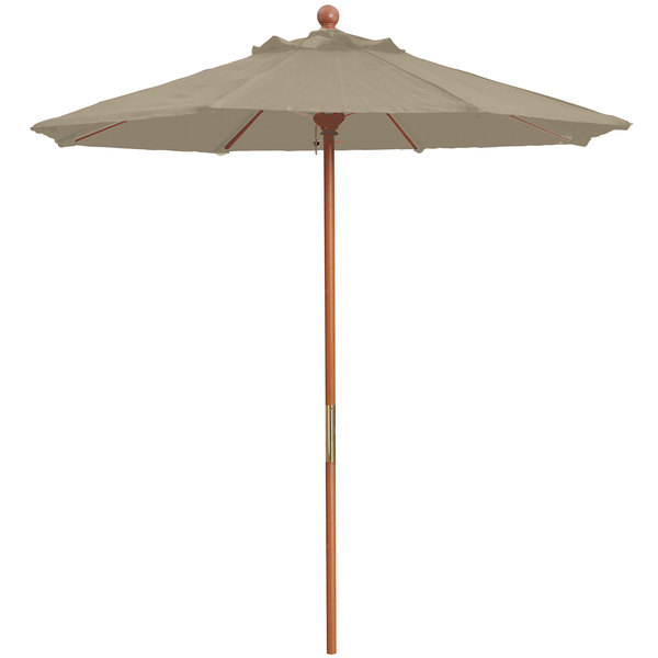 "Grosfillex 98948131 7' Taupe Market Umbrella with 1 1/2"" Wooden Pole"