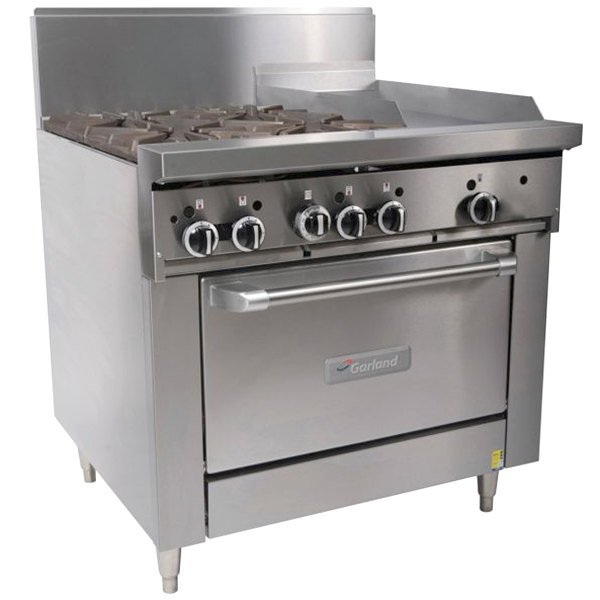 "Garland G36-4G12C Liquid Propane 4 Burner 36"" Range with 12"" Griddle and Convection Oven - 188,000 BTU"