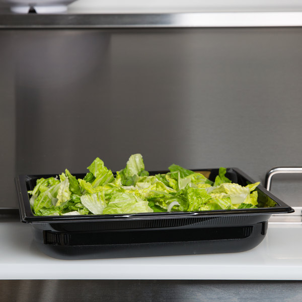 "Vollrath 8022420 Super Pan® 1/2 Size Black Polycarbonate Food Pan - 2 1/2"" Deep Main Image 7"