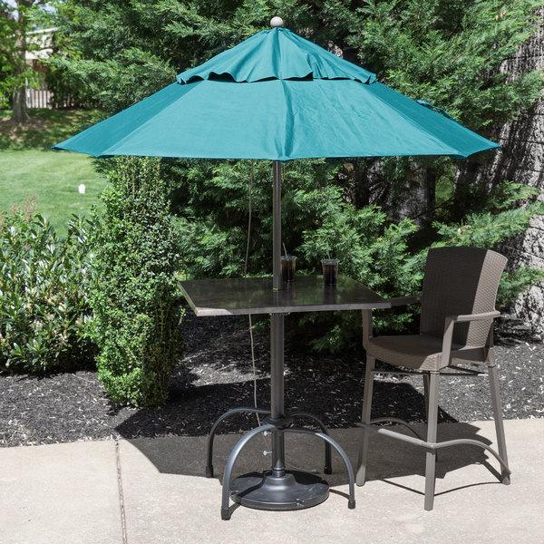 "Grosfillex 98324131 Windmaster 7 1/2' Turquoise Fiberglass Umbrella with 1 1/2"" Aluminum Pole Main Image 3"