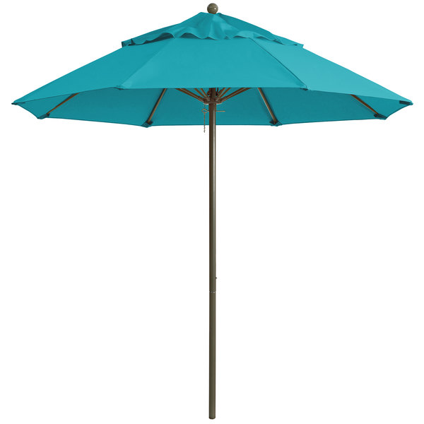 "Grosfillex 98324131 Windmaster 7 1/2' Turquoise Fiberglass Umbrella with 1 1/2"" Aluminum Pole"