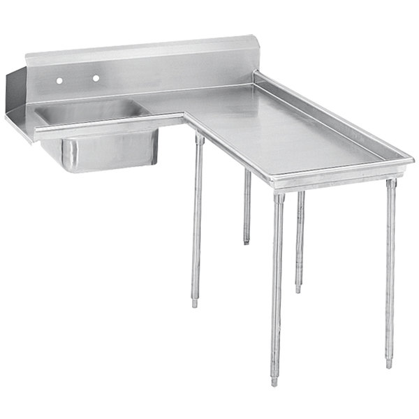 Right Table Advance Tabco DTS-G60-144 12' Super Saver Stainless Steel Soil L-Shape Dishtable