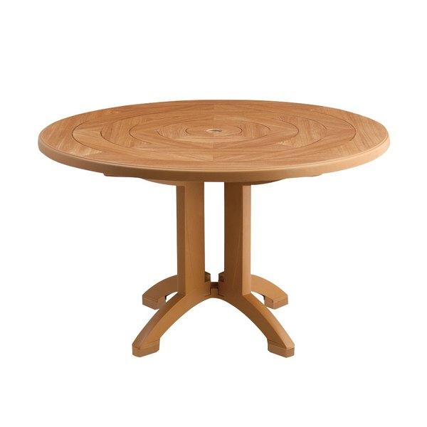 "Grosfillex US920008 Atlantis 38"" Round Resin Folding Table with Umbrella Hole - Teakwood"