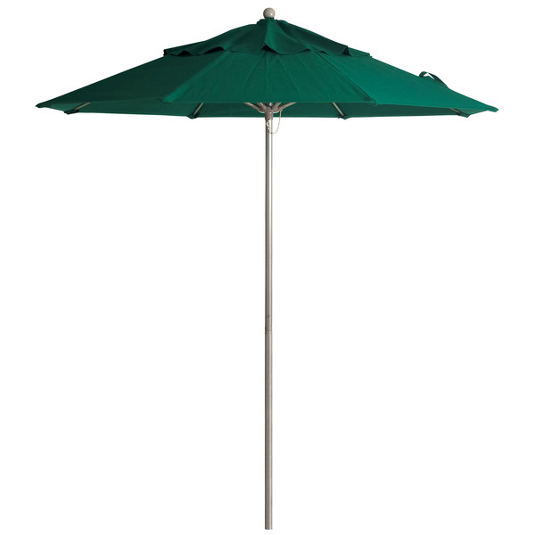 "Grosfillex 98822031 Windmaster 9' Forest Green Fiberglass Umbrella with 1 1/2"" Aluminum Pole"