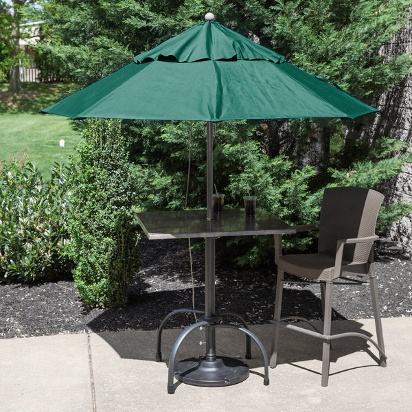 "Grosfillex 98382031 Windmaster 7 1/2' Forest Green Fiberglass Umbrella with 1 1/2"" Aluminum Pole Main Image 3"