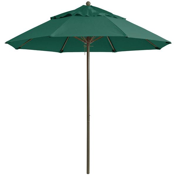 "Grosfillex 98382031 Windmaster 7 1/2' Forest Green Fiberglass Umbrella with 1 1/2"" Aluminum Pole"