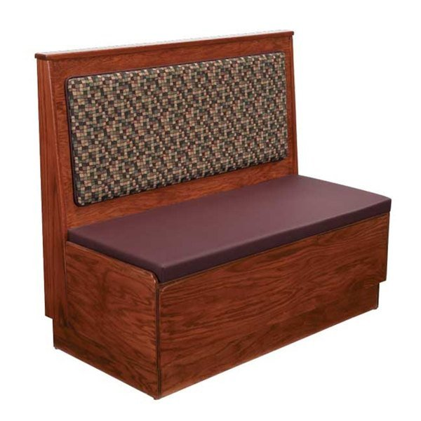 """American Tables & Seating AS48-W-PS Plain Back Platform Seat Single Wood Booth - 48"""" High"""