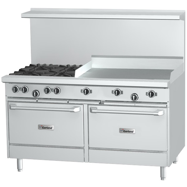 "Garland G60-4G36CC Liquid Propane 4 Burner 60"" Range with 36"" Griddle and 2 Convection Ovens - 262,000 BTU"