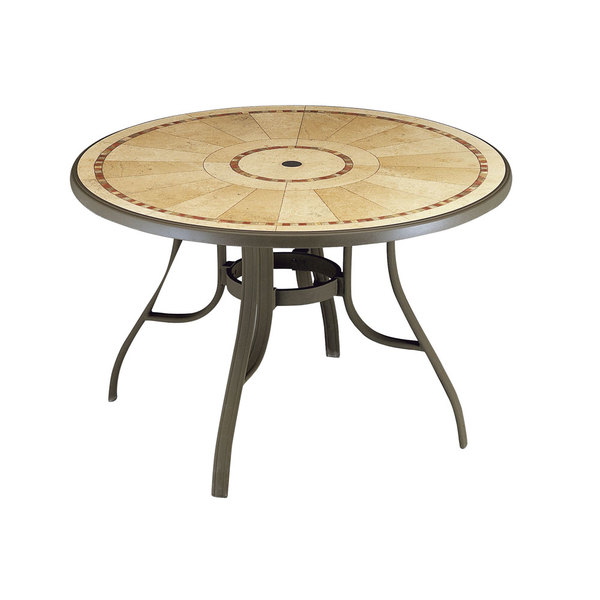 "Grosfillex 52236137 Louisiana 48"" Bronze Mist Round Resin Pedestal Table with Umbrella Hole"