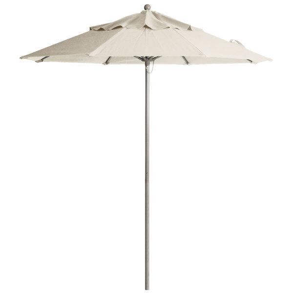 "Grosfillex 98842531 Windmaster 9' Canvas Fiberglass Umbrella with 1 1/2"" Aluminum Pole Main Image 1"