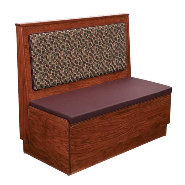 "American Tables & Seating AS48-W-PS-3/4 Plain Back Platform Seat 3/4 Circle Wood Corner Booth - 48"" High Main Image 1"