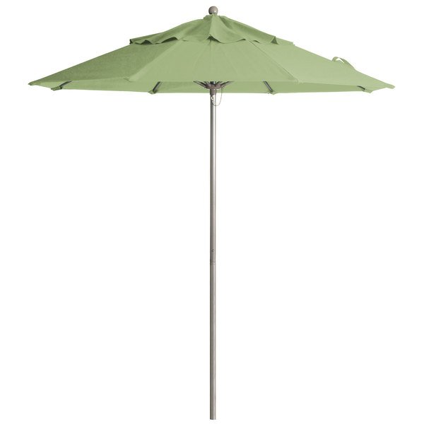 "Grosfillex 98842431 Windmaster 9' Pistachio Fiberglass Umbrella with 1 1/2"" Aluminum Pole"