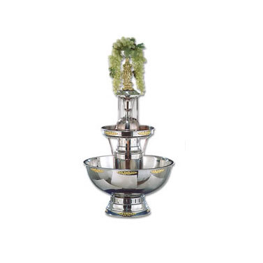 Buffet Enhancements 1BMFDC7GT 7 Gallon SS Champagne Fountain with Gold Bow Tie Trim and Statue & Waterfall Set