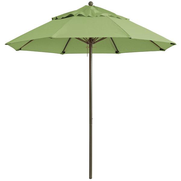 "Grosfillex 98342431 Windmaster 7 1/2' Pistachio Fiberglass Umbrella with 1 1/2"" Aluminum Pole"