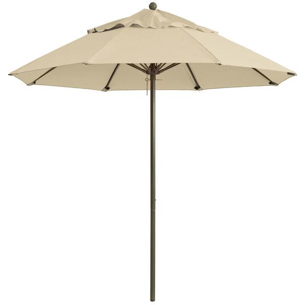 "Grosfillex 98820331 Windmaster 9' Khaki Fiberglass Umbrella with 1 1/2"" Aluminum Pole"