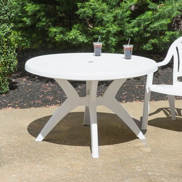 Grosfillex Us526704 Ibiza 46 White, Round Picnic Table With Umbrella Hole