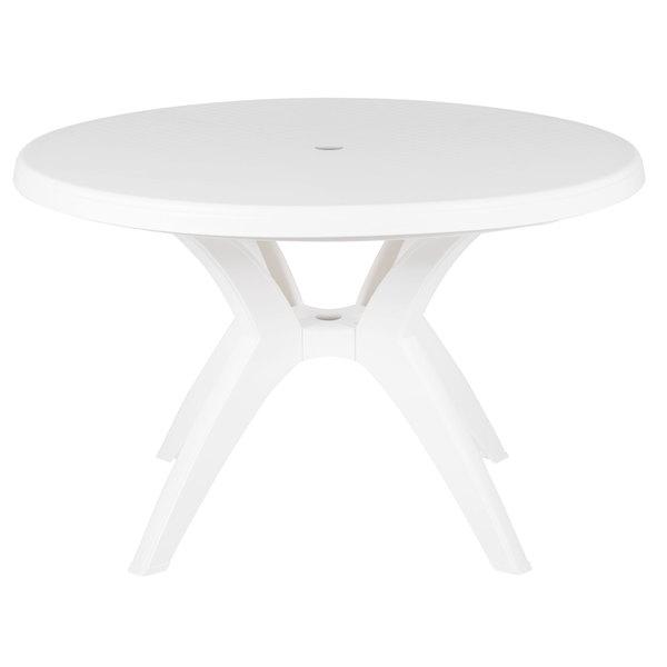 Grosfillex Us526704 Ibiza 46 White Round Resin Pedestal Table With Umbrella Hole