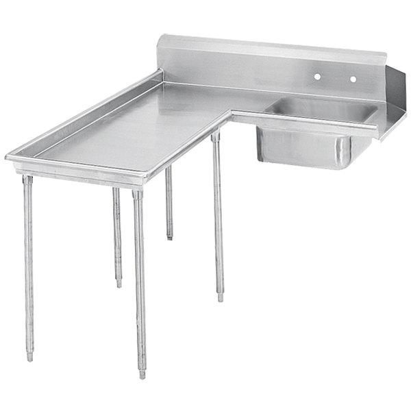 Left Table Advance Tabco DTS-G60-144 12' Super Saver Stainless Steel Soil L-Shape Dishtable