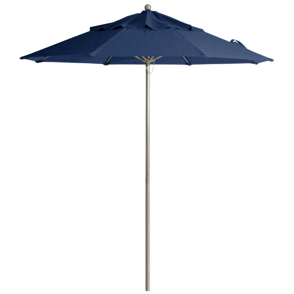 "Grosfillex 98826031 Windmaster 9' Navy Fiberglass Umbrella with 1 1/2"" Aluminum Pole"