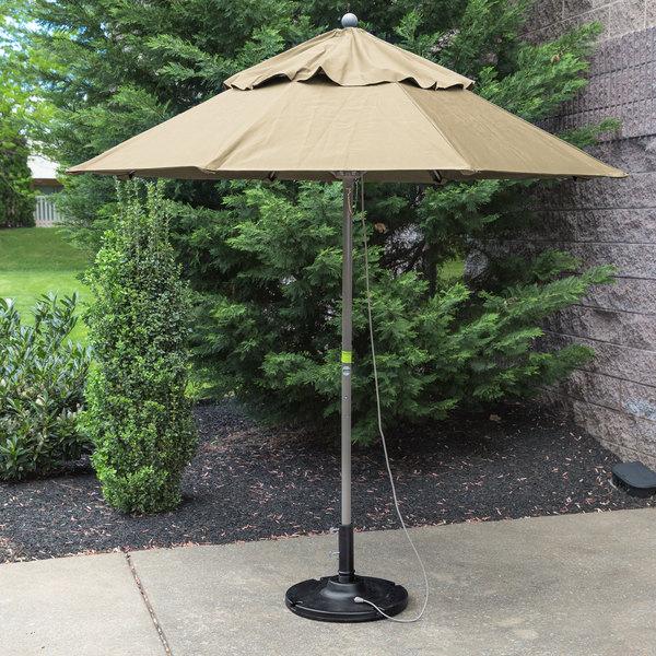 "Grosfillex 98380331 Windmaster 7 1/2' Khaki Fiberglass Umbrella with 1 1/2"" Aluminum Pole"