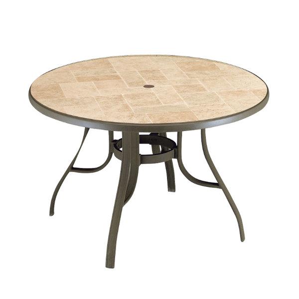 Grosfillex Us527137 Toscana 48 Bronze Mist Legs Round Resin Pedestal Table With Umbrella Hole