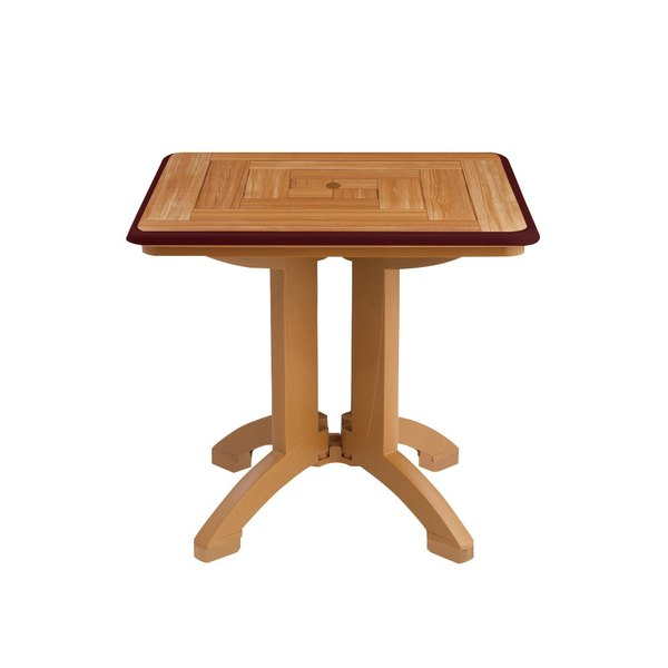 "Grosfillex US643067 Atlantis 32"" x 32"" Square Resin Folding Table with Umbrella Hole - Teakwood with Bordeaux Trim - 2/Pack"