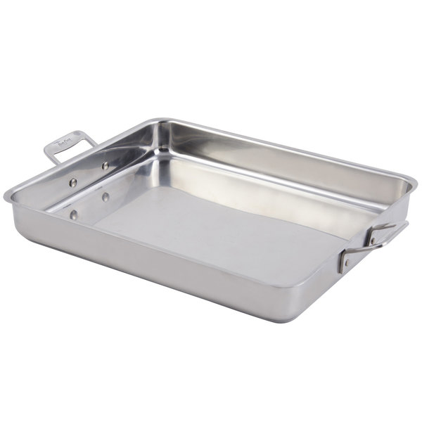 "Bon Chef 60012CLD Cucina 5 Qt. Stainless Steel Large Food Pan with Handles and Induction Bottom - 14 5/8"" x 12"" x 2 1/4"""
