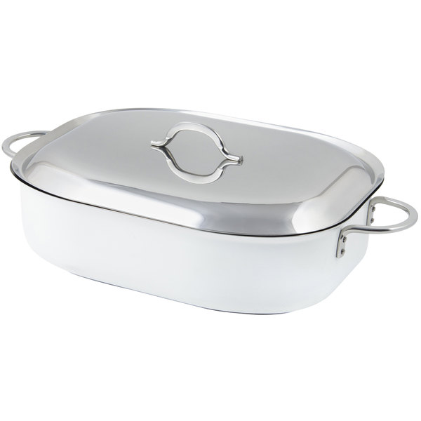 """Bon Chef 60004CFCLD Cucina Classic Country French 7 Qt. White French Oven with Lid, Handles, and Induction Bottom - 15"""" x 11"""" x 4"""""""