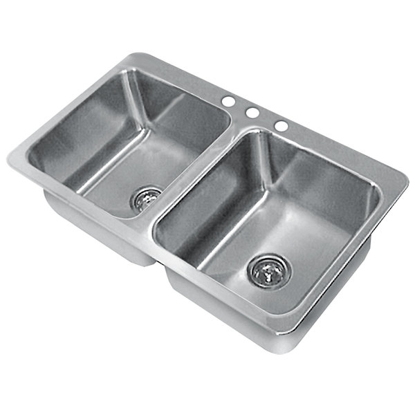 "Advance Tabco SS-2-3321-12 Smart Series Double Bowl Drop In Sink - 14"" x 16"" x 12"" Bowls"