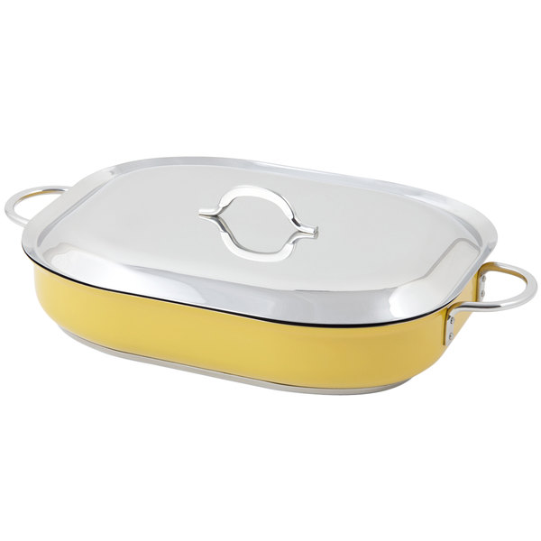 "Bon Chef 60023CFCLD Cucina Classic Country French 5 Qt. Yellow Oblong Pan with Lid, Handles, and Induction Bottom - 15"" x 11"" x 2 7/8"""