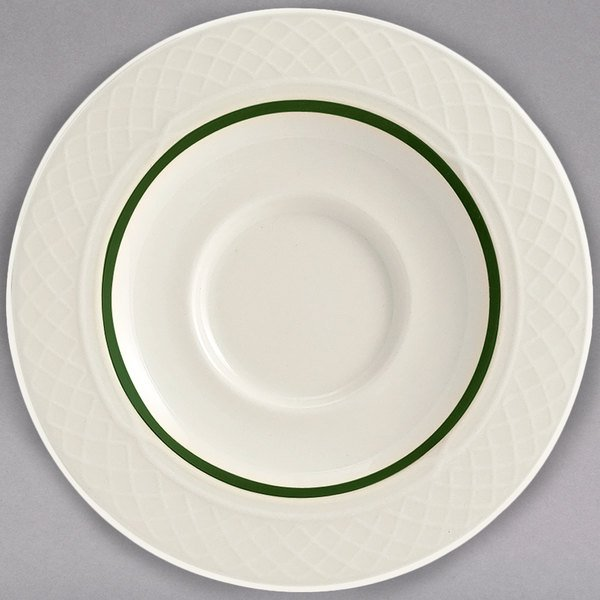 """Homer Laughlin 1430-0355 Green Jade Gothic 5 5/8"""" Off White China Saucer - 36/Case"""
