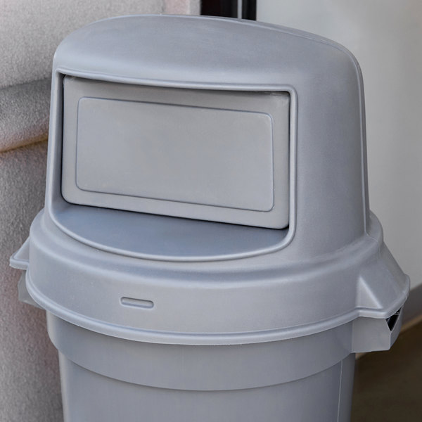 Continental 4456gy Huskee 44 Gallon Gray Dome Top Trash Can Lid