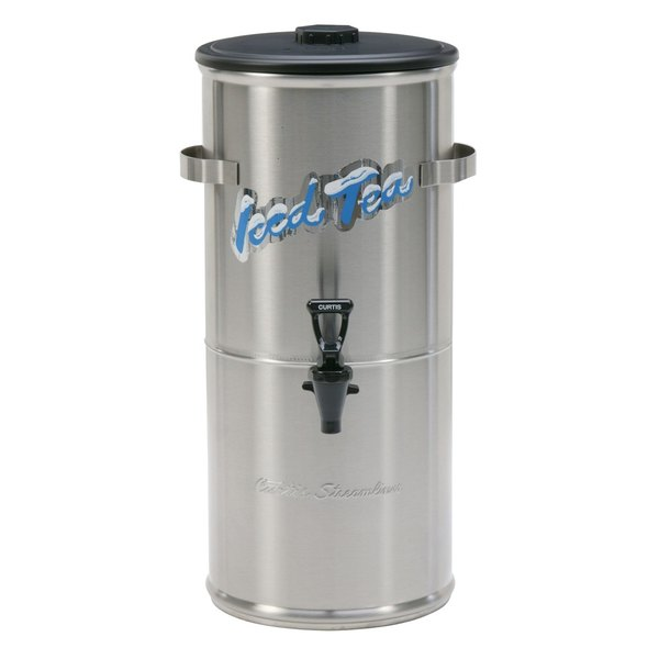 Curtis TC-3HS Round Low Profile Stainless Steel 3.5 Gallon Iced Tea Dispenser with Plastic Lid