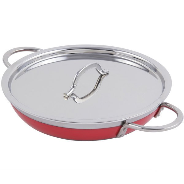 Bon Chef 60305 Classic Country French Collection 2 Qt. 12 oz. Red Saute Pan / Skillet with Cover and Double Handles