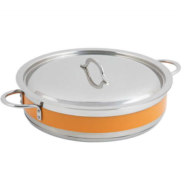 Bon Chef 60032CLD Cucina 9 Qt. Orange Brazier Pot with Cover