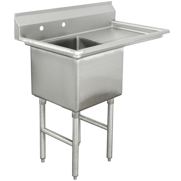 """Right Drainboard Advance Tabco FC-1-2424-18 One Compartment Stainless Steel Commercial Sink with One Drainboard - 45"""""""