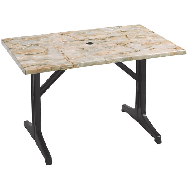 Grosfillex 55618302 1000 Charcoal Resin Lateral Table Base Main Image 1