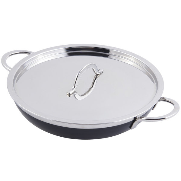 Bon Chef 60305 Classic Country French Collection 2 Qt. 12 oz. Black Saute Pan / Skillet with Cover and Double Handles Main Image 1