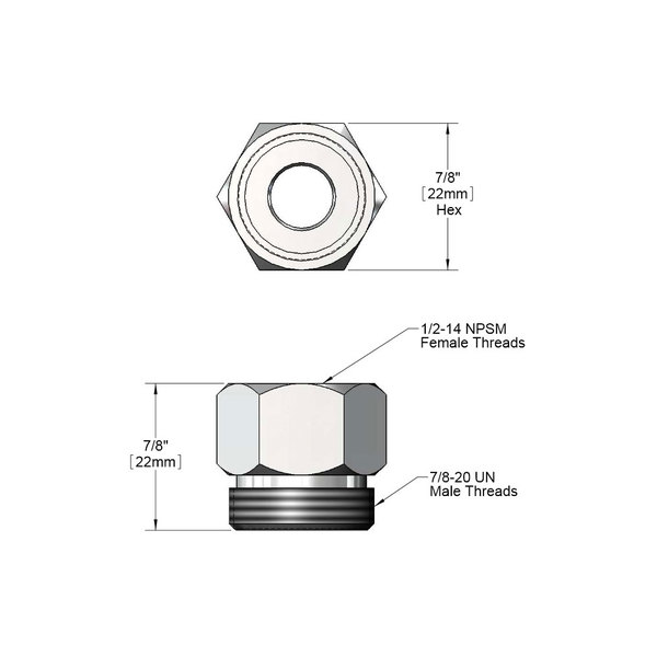 T&S 005222-40 Inlet Nut with 1/2-14 NPSM Connections
