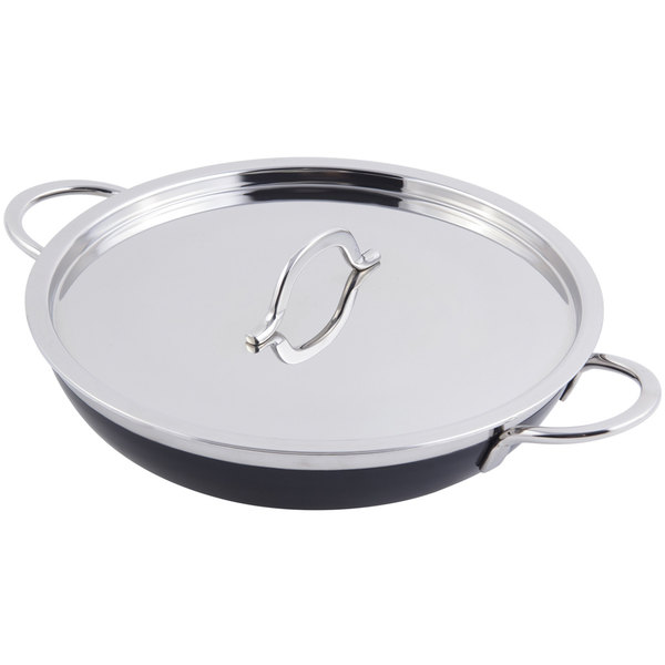 Bon Chef 60306 Classic Country French Collection 3 Qt. 4 oz. Black Saute Pan / Skillet with Cover and Double Handles
