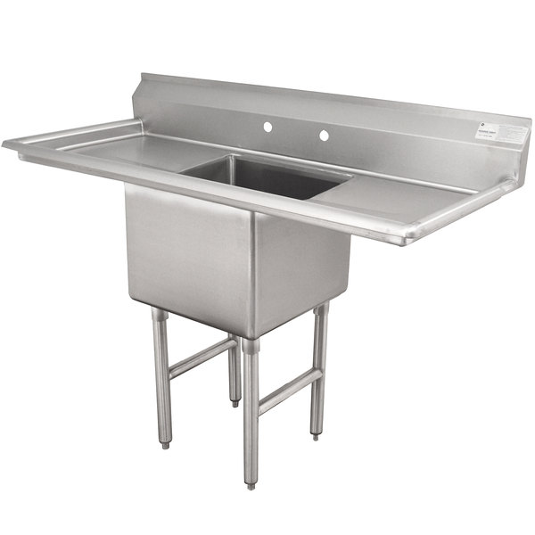 Advance Tabco FC-1-1824-24RL One Compartment Stainless Steel Commercial Sink with Two Drainboards - 66""