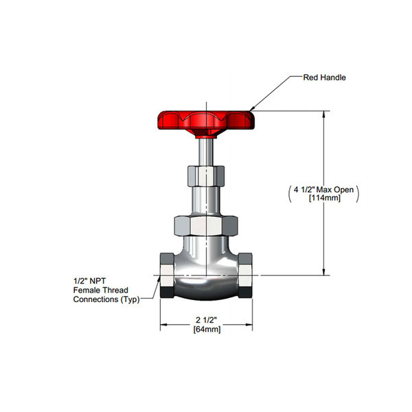 """T&S 006647-25 Chrome Plated Red Globe Valve Handle with 1/2"""" NPT Female Connections"""