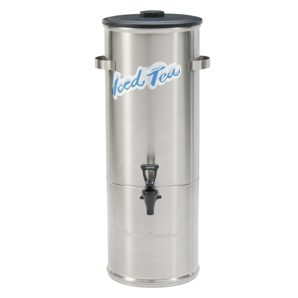Curtis TC-5HS Round Low Profile Stainless Steel 5 Gallon Iced Tea Dispenser with Stainless Steel Lid