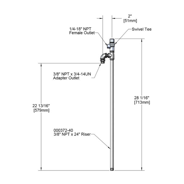 """T&S 005310-40 24"""" Riser Assembly with Swivel Tee"""