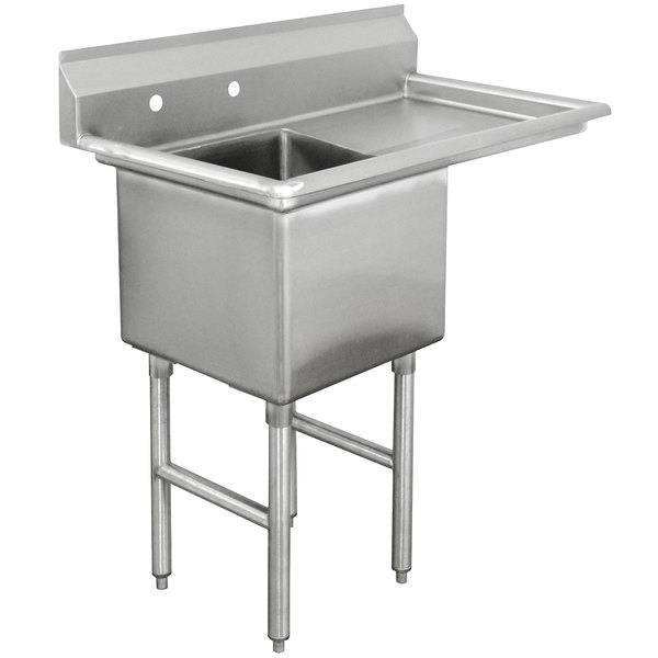 Right Drainboard Advance Tabco FC-1-2424-24 One Compartment Stainless Steel Commercial Sink with One Drainboard - 50 1/2""